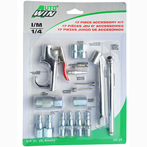 17pc. Blow Gun, Tire Gauge and Steel Coupler Set